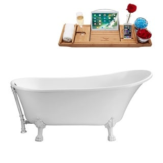 Streamline White 67-inch Soaking Clawfoot Tub with Silvertone External Drain