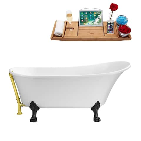 """67"""" Streamline N340BL-GLD Soaking Clawfoot Tub and Tray With External Drain"""