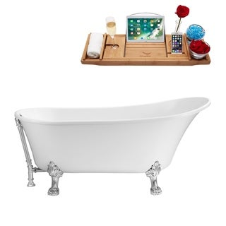 Streamline White 67-inch Clawfoot Soaking Tub with External Drain