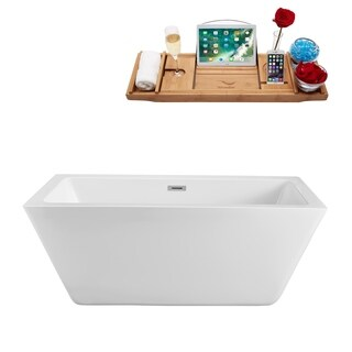 Streamline White 60-inch Freestanding Tub with Internal Drain