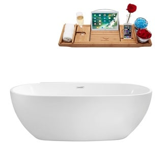 Streamline 59-inch Freestanding Soaking Tub With Internal Drain