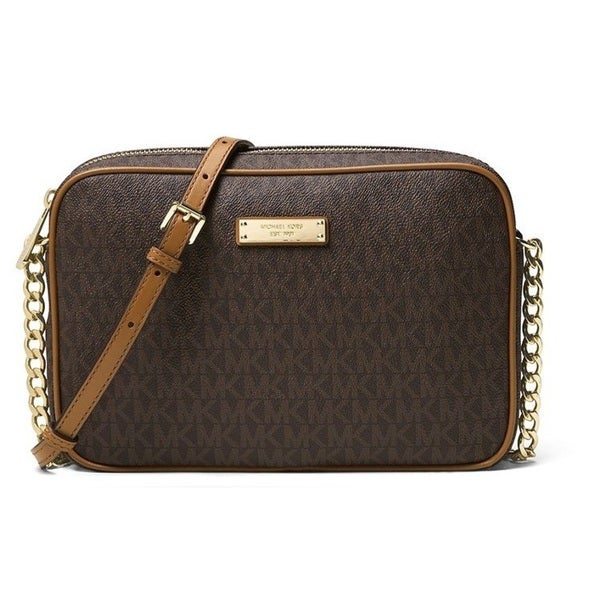 1e4257cf3d9a0f Shop Michael Kors Signature Jet Set Medium Brown East/West Crossbody Bag - Free  Shipping Today - Overstock - 15677916
