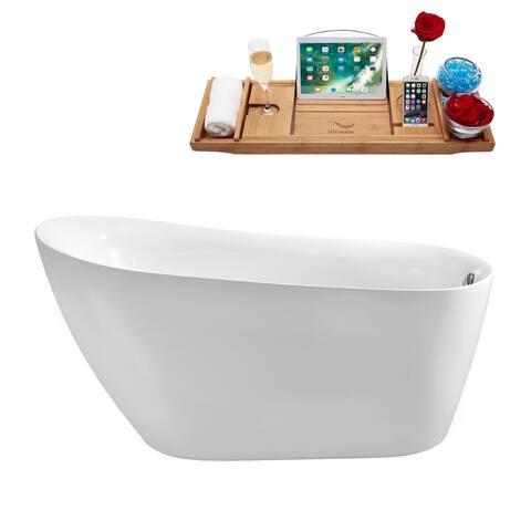 "59"" Streamline N-280-59FSWH-FM Soaking Freestanding Tub and Tray with Internal Drain"