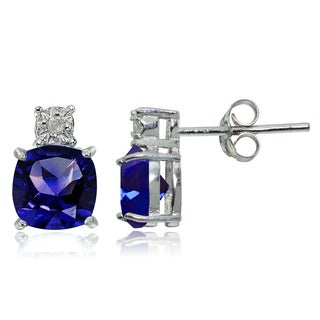 Glitzy Rocks Sterling Silver Created Blue Sapphire and Diamond Accent Cushion-cut Drop Stud Earrings