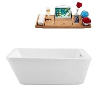 Streamline White 60-inch Freestanding Soaking Tub with Internal Drain
