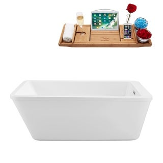 Streamline White 60-inch Freestanding Soaking Tub with Internal Drain