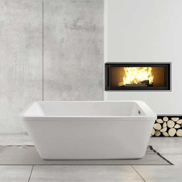 Shop Streamline White 60-inch Freestanding Soaking Tub with Internal ...