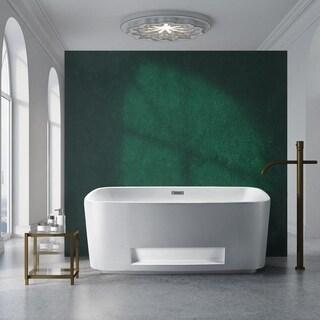 Streamline White 59-inch Freestanding Standing Tub with Internal Drain