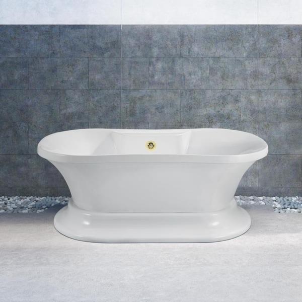 Shop Streamline 60-inch Soaking Freestanding Tub With External Drain ...