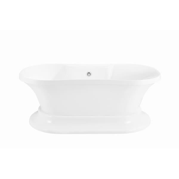 Streamline 60-inch Soaking Freestanding Tub with External Drain ...
