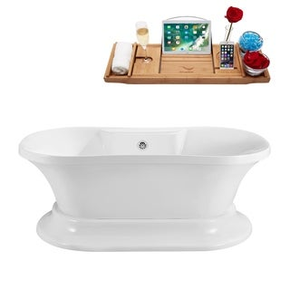 Streamline 60-inch Soaking Freestanding Tub with External Drain
