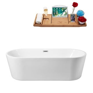 Streamline White 59-inch Freestanding Tub with Internal Drain