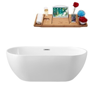 "59"" Streamline N-140-60FSWH-FM Soaking Freestanding Tub and Tray With Internal Drain"