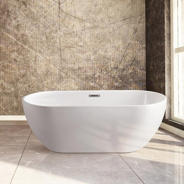 Streamline 59 Inch Soaking Freestanding Tub With Internal Drain