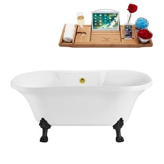 Streamline White 60-inch Soaking Clawfoot Tub with Goldtone External Drain and Black Clawfeet