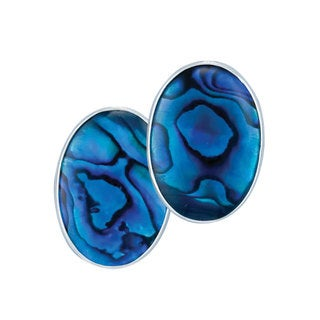 Handmade Sterling Silver Blue Abalone Clip Earrings (Mexico)