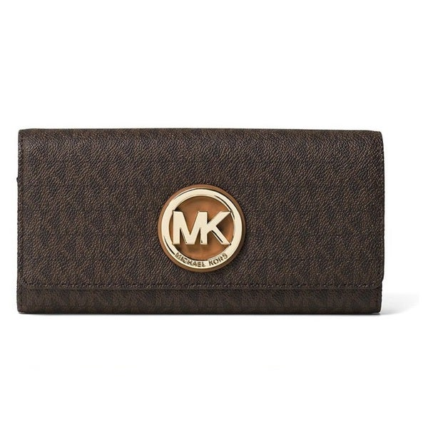 f2daac9f87d5d7 Shop Michael Kors Fulton Flap Brown Logo Continental Wallet - Free ...