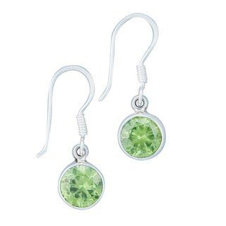Handmade Sterling Silver Synthetic Peridot Earrings (Mexico) - Green