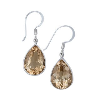 Handmade Sterling Silver Citrine Teardrop Earrings (Mexico)