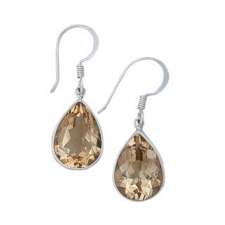 Handmade Sterling Silver Citrine Teardrop Earrings (Mexico) - Yellow