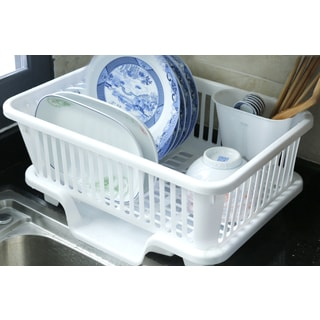 Plastic Dish Rack with Drain Board and Utensil Cup