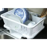 Plastic Dish Rack with Drain Board and Utensil Cup - White