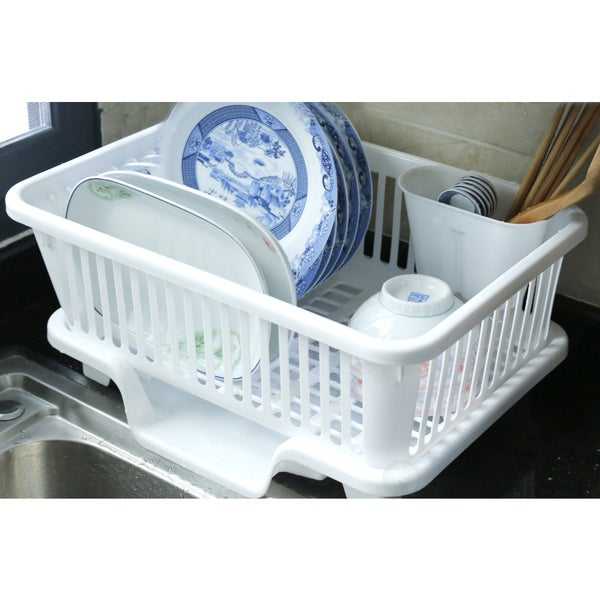 Plastic Dish Rack with Drain Board and Utensil Cup - White. Opens flyout.
