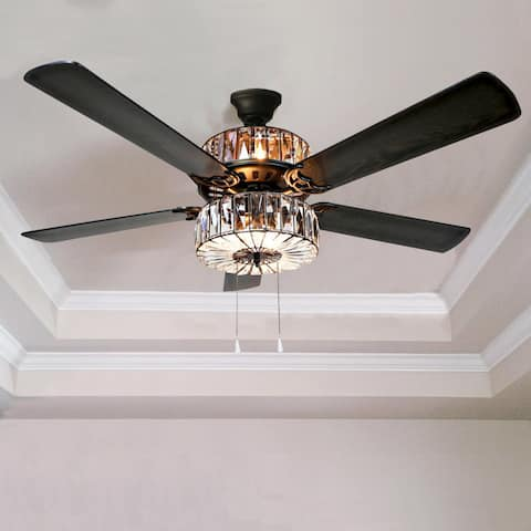 Buy pull chain ceiling fans online at overstock our best silver orchid march caged crystal ceiling fan brown aloadofball Choice Image