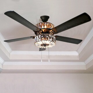 Caged Crystal Ceiling Fan - Brown