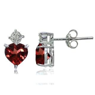 Glitzy Rocks Sterling Silver African Garnet and Diamond Accent Heart Drop Stud Earrings