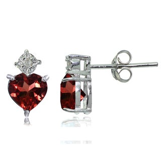 Glitzy Rocks Sterling Silver African Garnet and Diamond Accent Heart Drop Stud Earrings - White/Red