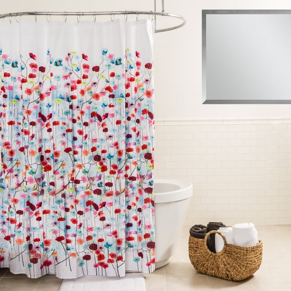 Splash Home Mansi Floral Fabric Shower Curtain