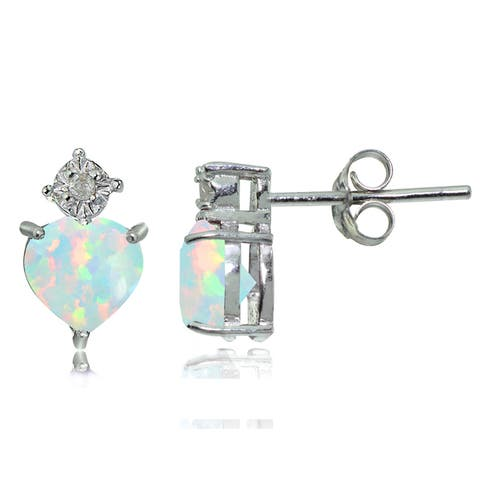 Glitzy Rocks Sterling Silver Created White Opal and Diamond Accent Heart Drop Stud Earrings - Green