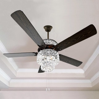 Silver Punched Metal and Clear Crystal Ceiling Fan