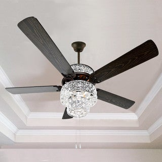 Silver Orchid March Silver Punched Metal and Clear Crystal Ceiling Fan