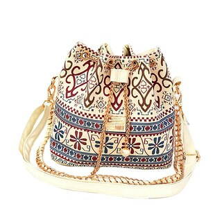 Women's White Linen Crossbody Hobo Handbag