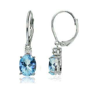Glitzy Rocks Sterling Silver Blue Topaz and Diamond Accent Oval Dangling Leverback Earrings