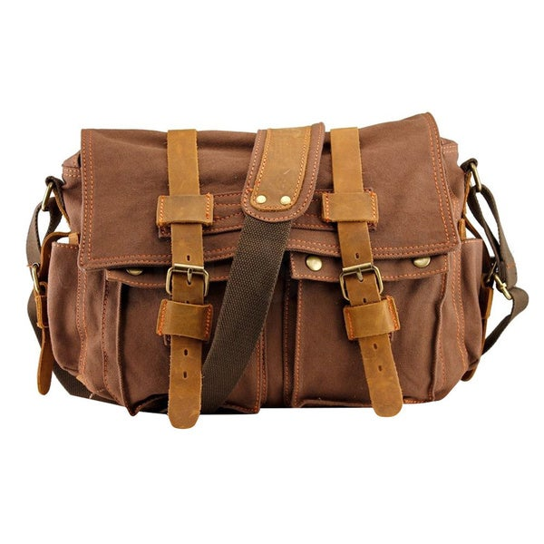 61360d2fc434 Shop Men s Vintage Canvas and Leather School Military Messenger Bag ...