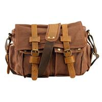 Men's Vintage Canvas and Leather School Military Messenger Bag