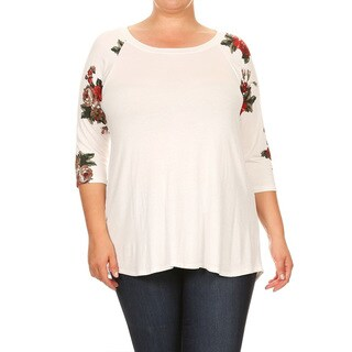 Women's Plus Size Red Roses Sleeve Tunic