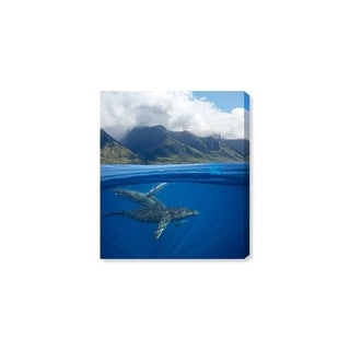 Oliver Gal 'Humpback Whales and Mountains by David Fleetham' Canvas Art