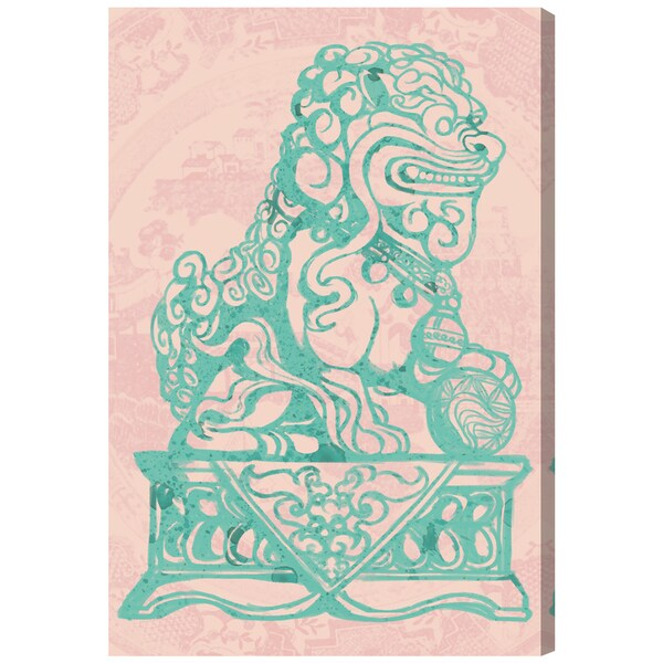 Oliver Gal 'Julianne Taylor - Foo Dog Rose' World and Countries Wall Art Canvas Print - Green, Pink
