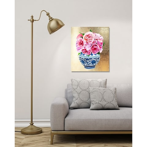 Oliver Gal 'Julianne Taylor - Peonie Vase Gold' World and Countries Wall Art Canvas Print - Gold, Pink