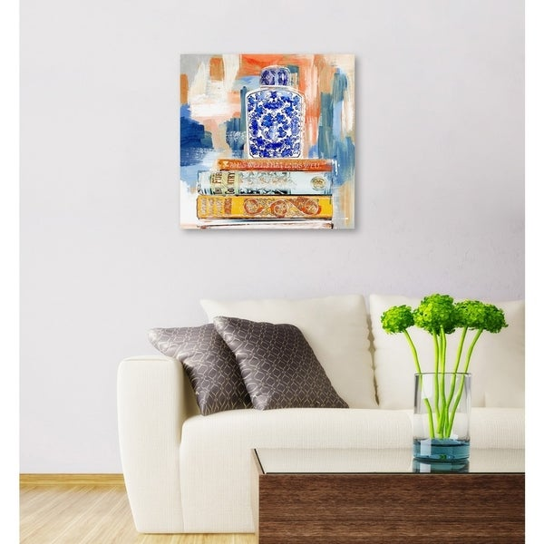 Oliver Gal 'Julianne Taylor - Vintage Collection Books' Fashion Wall Art Print on Premium Canvas - Blue