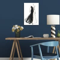 Oliver Gal  'Black andamp;amp; White Affair - Gill Bay' Fashion Wall Art Print on Premium Canvas - Black, White