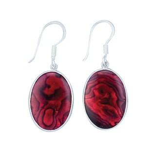 Handmade Silver Red Abalone Dangle Earrings (Mexico)
