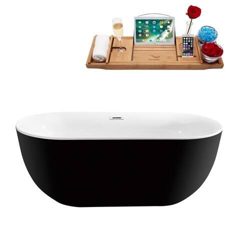"59"" Streamline N-801-59FSBL-FM Soaking Freestanding Tub and Tray With Internal Drain"
