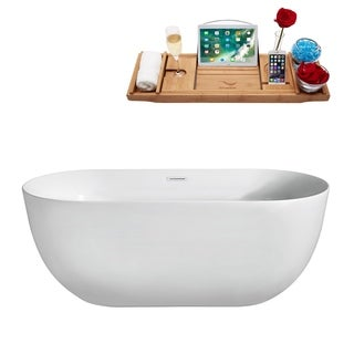 Streamline White/Silver Acrylic/Brass 67-inch Soaking Freestanding Tub with Internal Drain