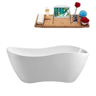 "67"" Streamline N-740-67FSWH-FM Soaking Freestanding Tub and Tray With Internal Drain"