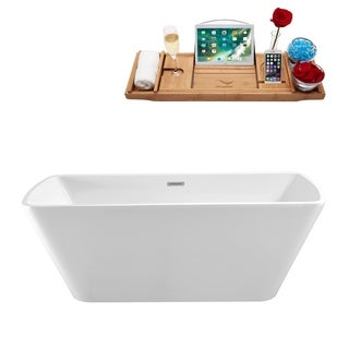Streamline 59-inch Free-standing Soaking Tub With Internal Drain